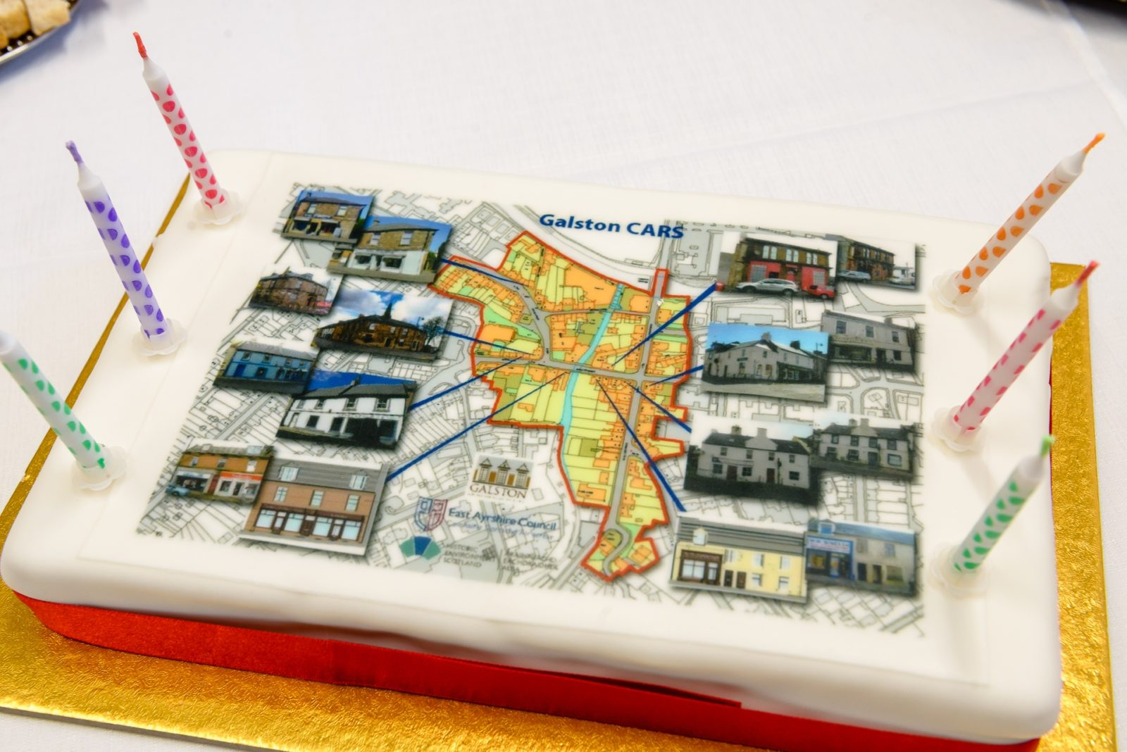 A specially decorated cake at an event to celebrate the Galston CARS which took place on Monday 18 June 2018 in Galston, East Ayrshire. The Conservation Area Regeneration Scheme has seen many historic building in the town refurbished and brought back into use